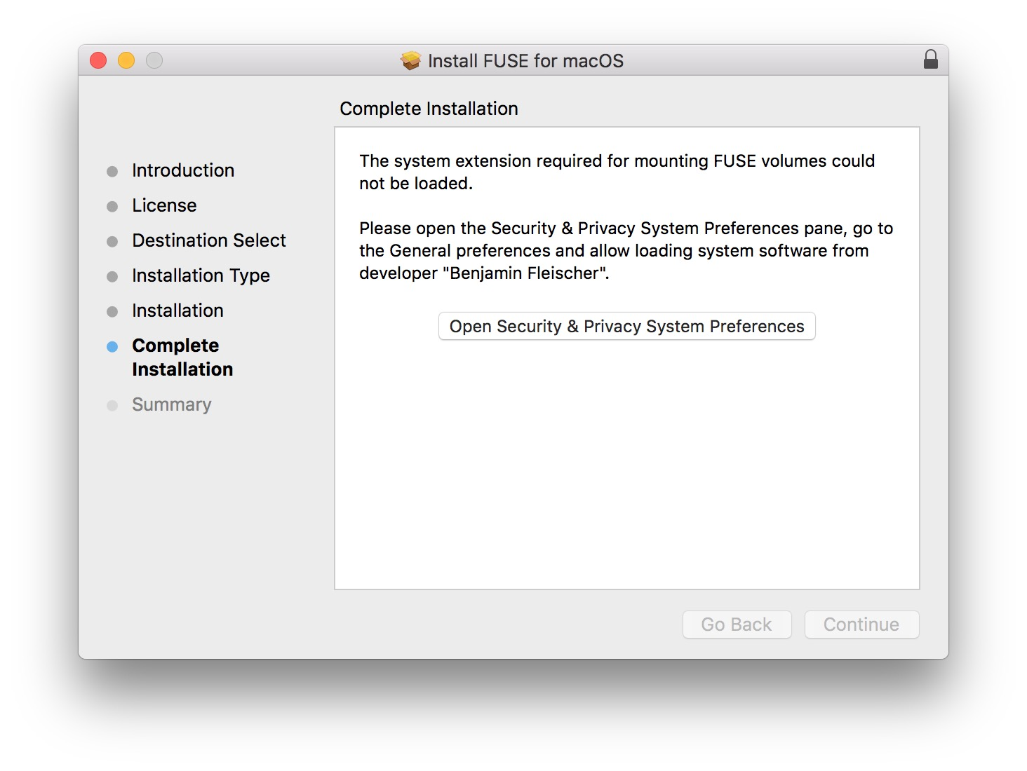 Unable to install in Mac OS 10 13 5 · Issue #506 · osxfuse