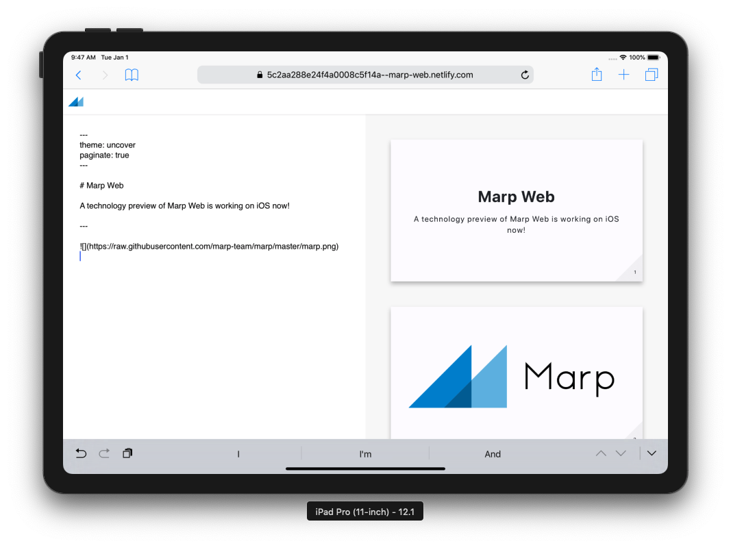 Marp Web on iPad