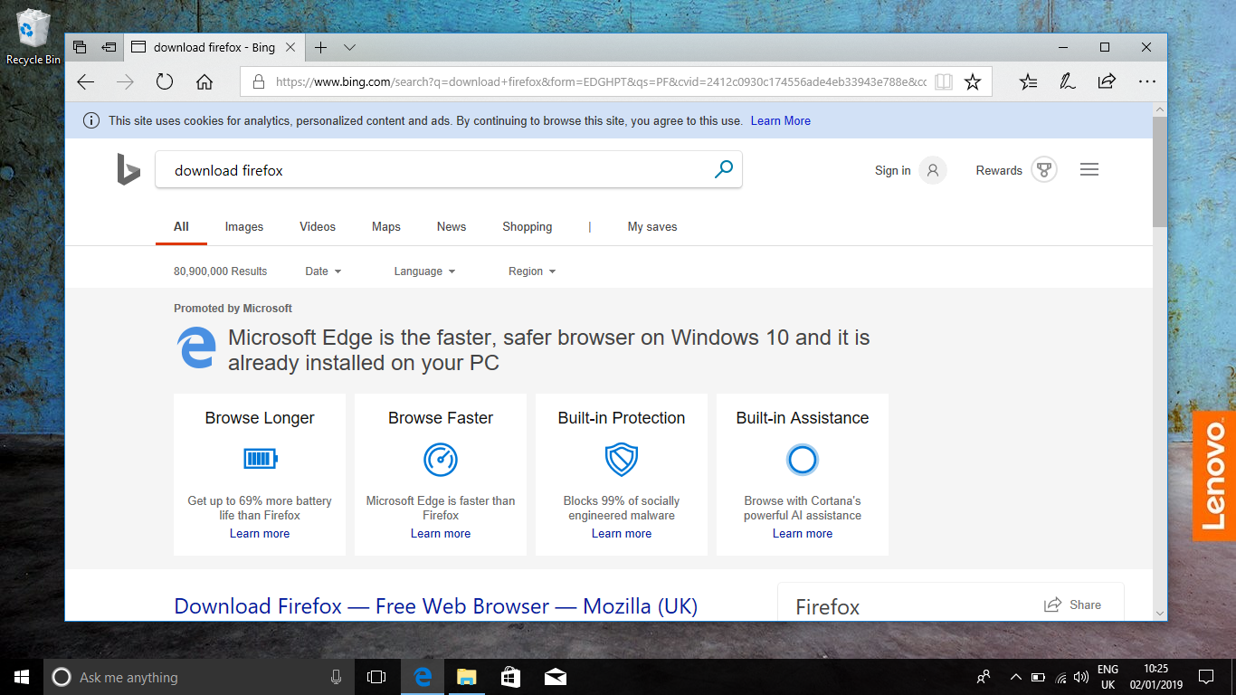 firefox search result