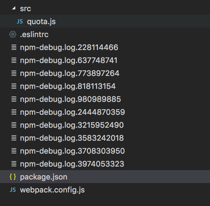 So many `npm-debug log xxxxx` are generated after package