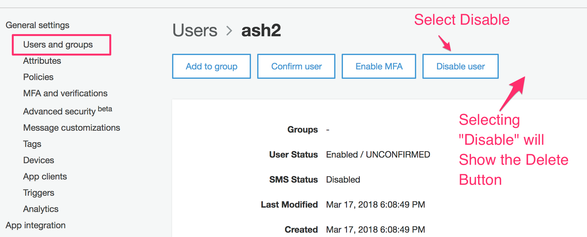 How to disable or delete user · Issue #469 · aws-amplify