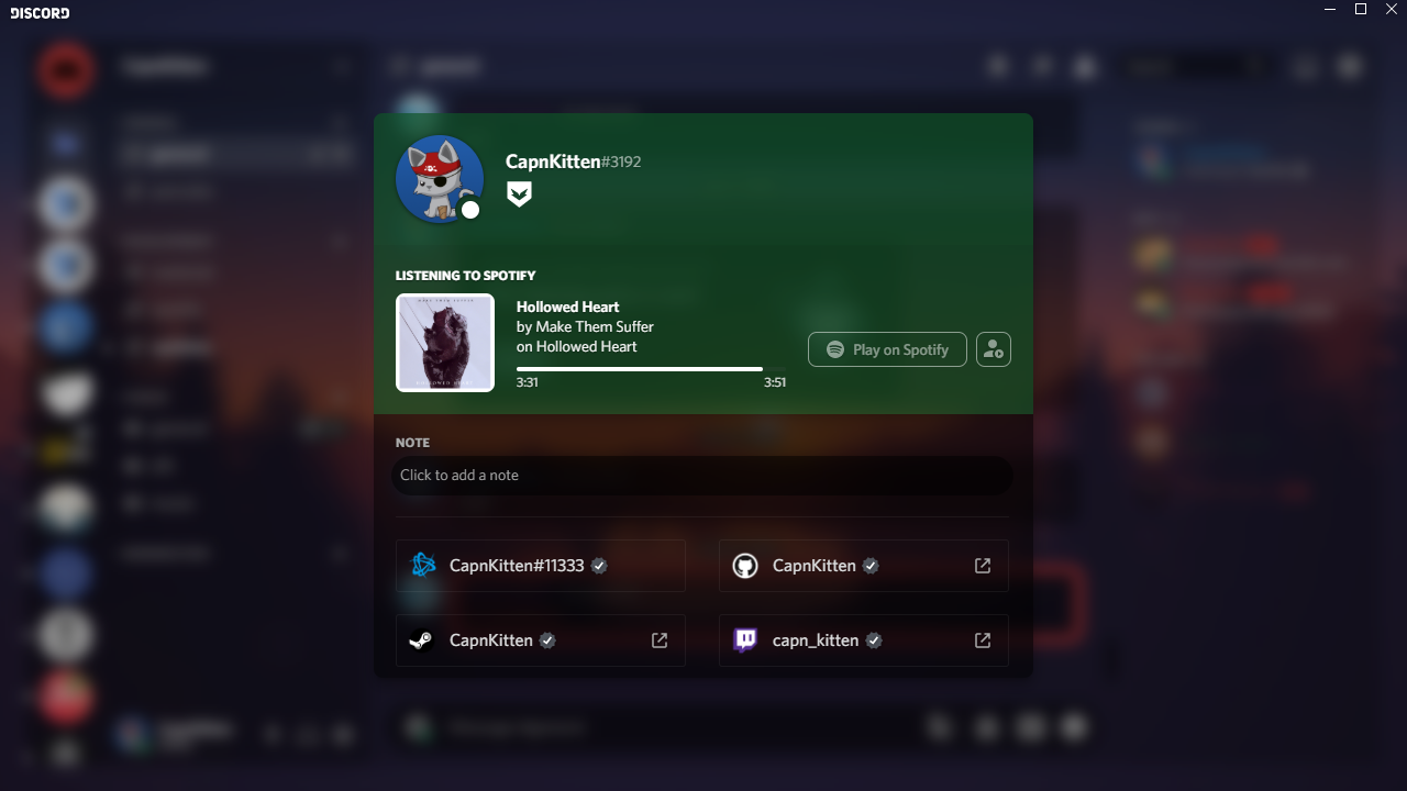 User profile modal