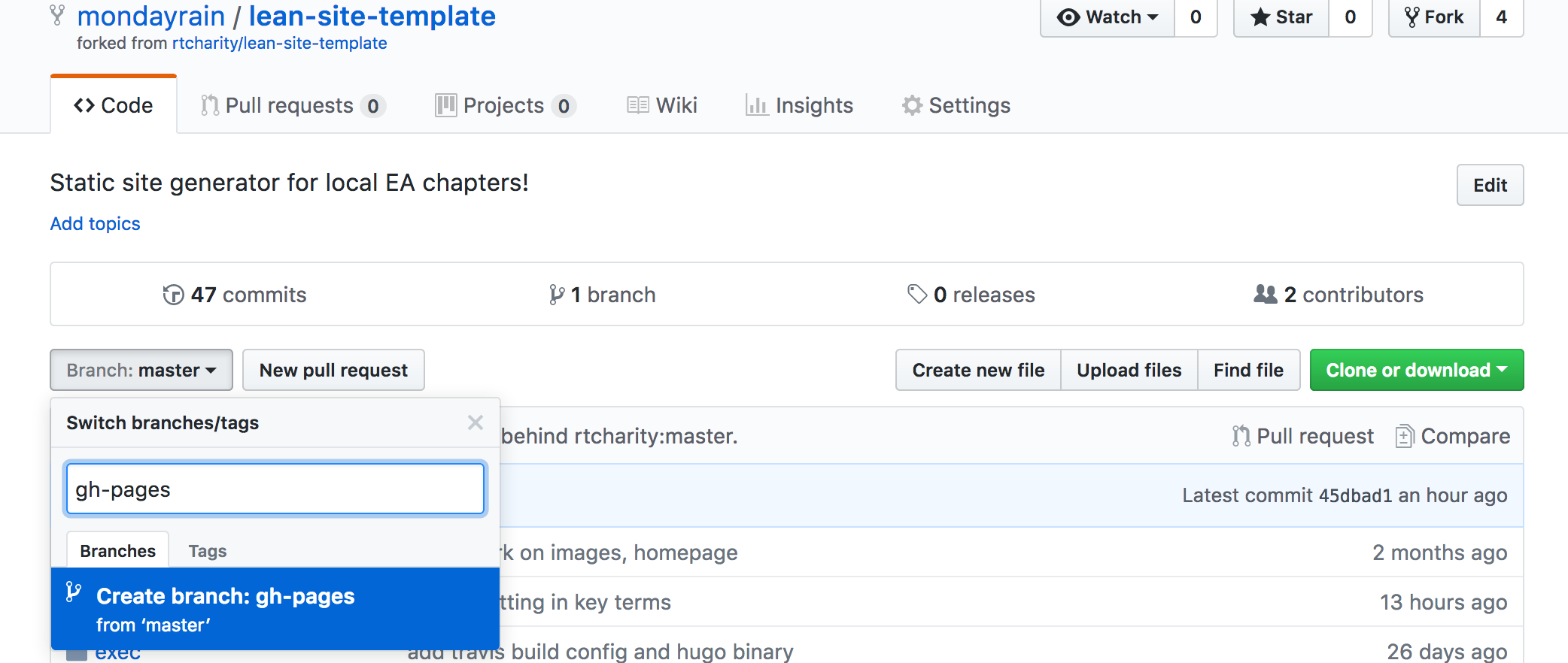 Create a gh-pages branch