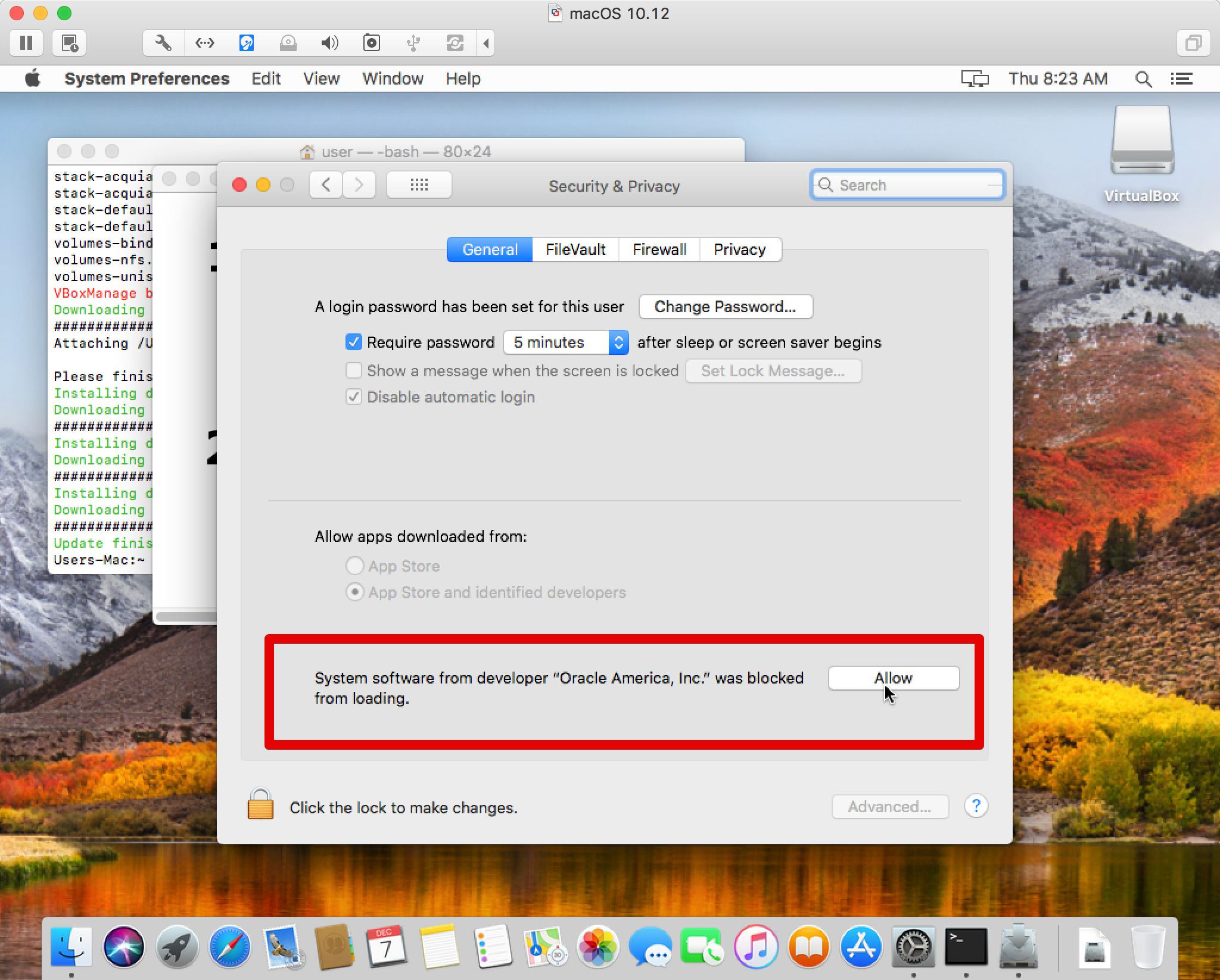 VirtualBox installation fails on macOS High Sierra 10 13