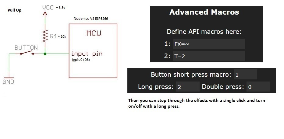 how to wire a button to D3 and set up a macro