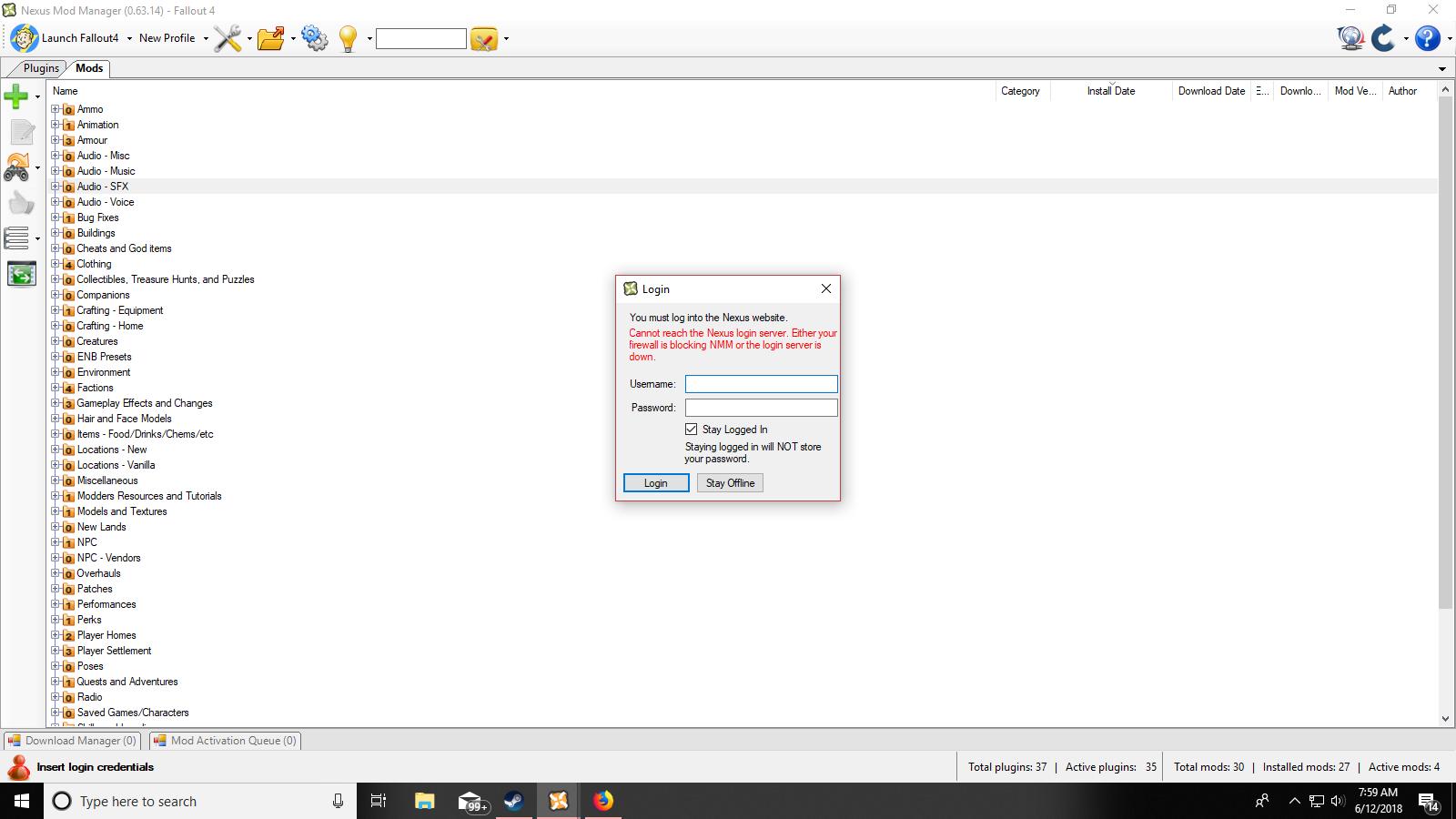Nexus Mod Manager login Server Down