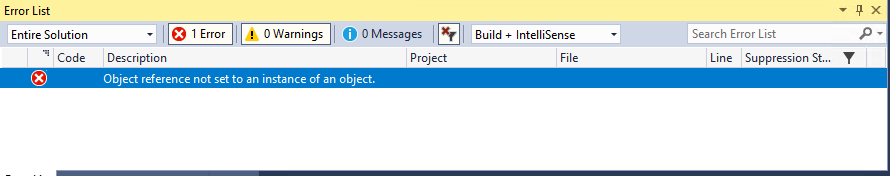 Test Failure] Error 'Object reference not set to an instance of an