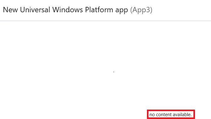"Test Failure] ""No content available"" show when adding MVVM"