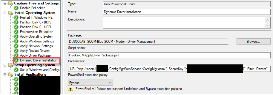 Invoke-CMApplyDriverPackage ps1 - PowerShell exe does not