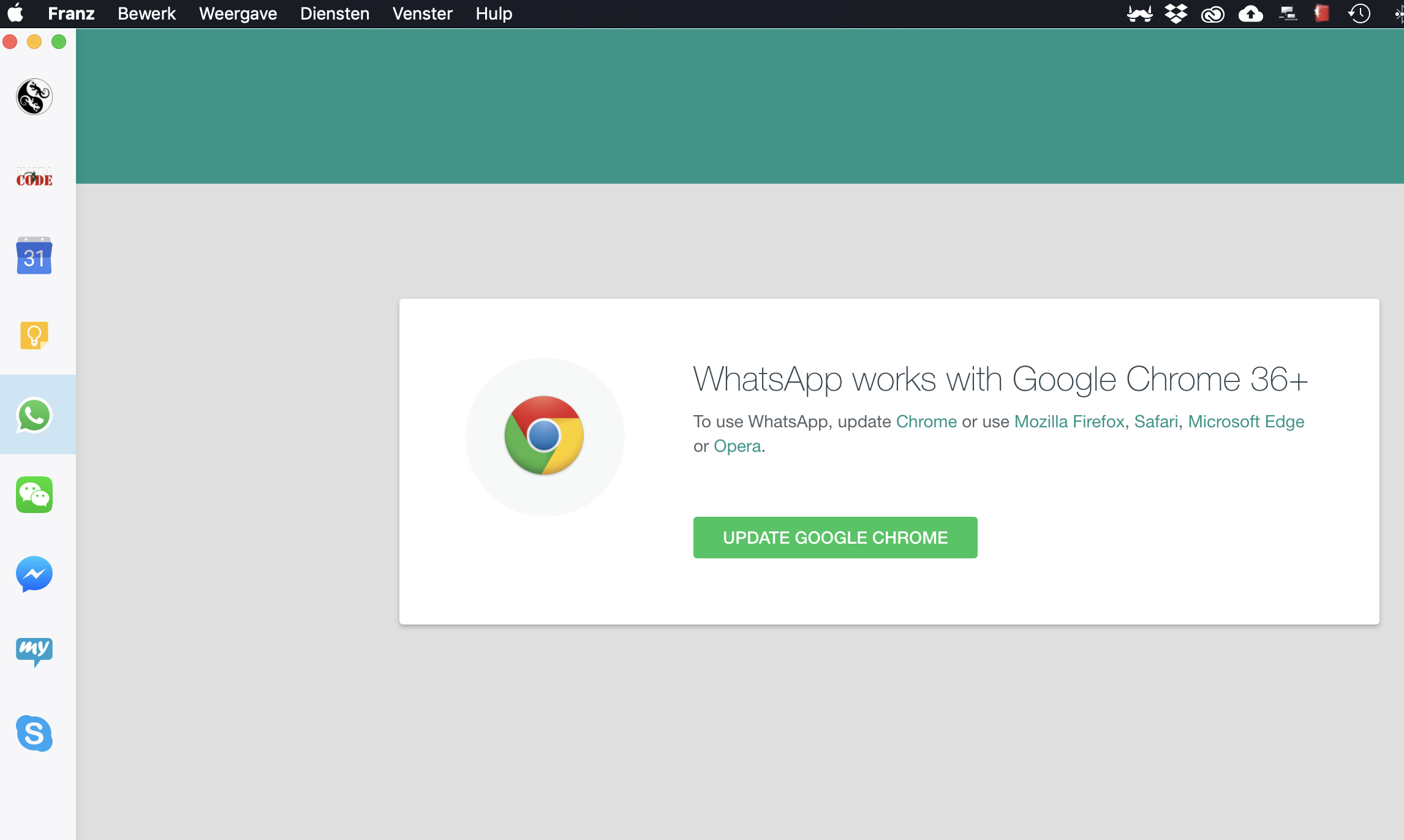 Whatapp will not start, claims Chrome Browser 36+ is required