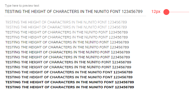 Nunito Character Sizes Inconsistent with Certain