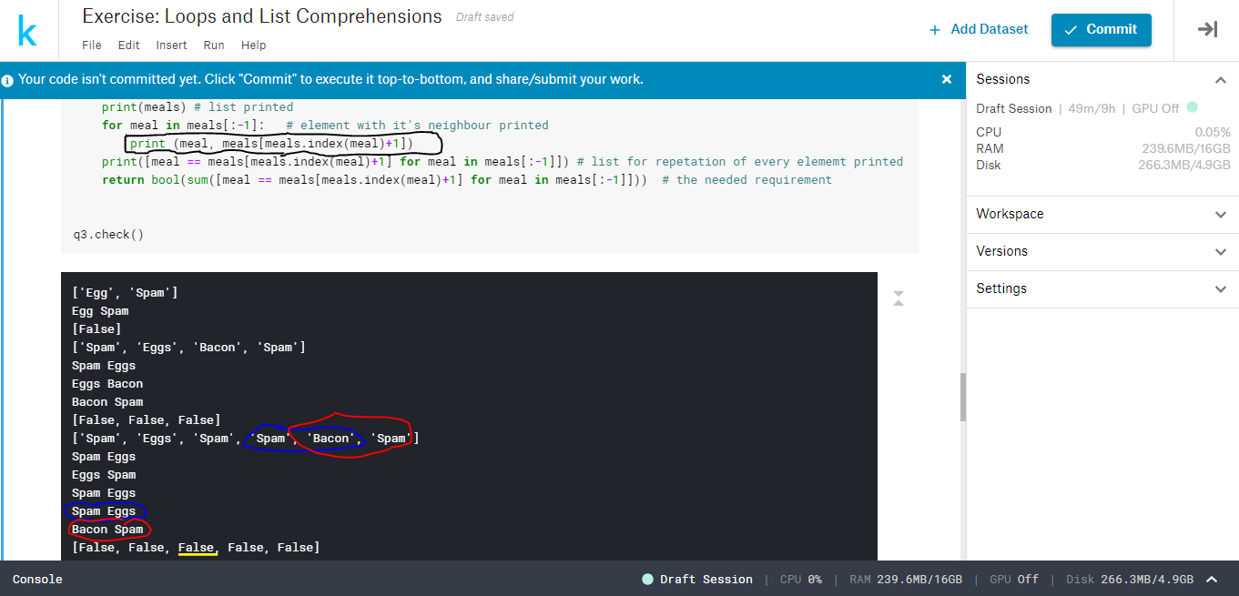 Error in execution of code in python micro course kernel