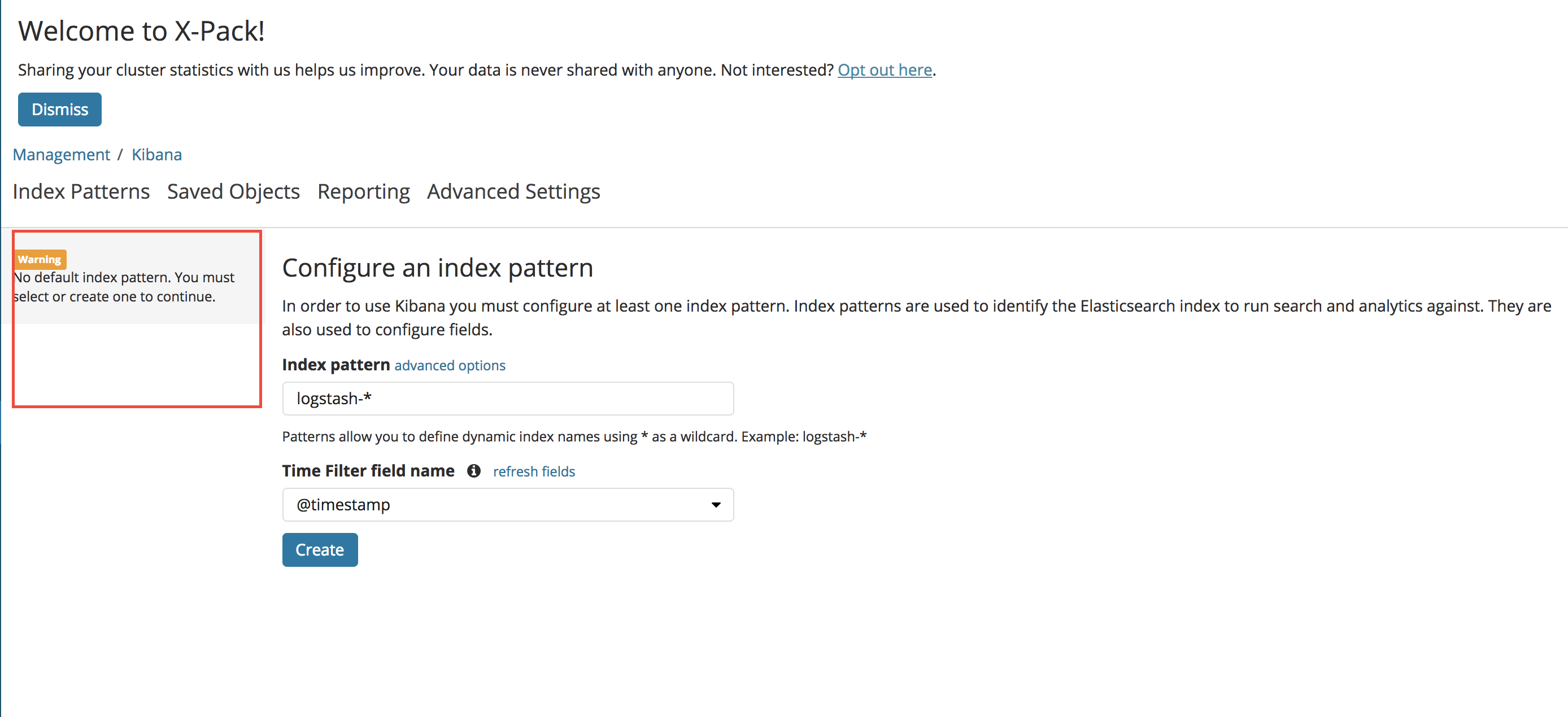 Cannot specify a default index pattern · Issue #15 · elastic