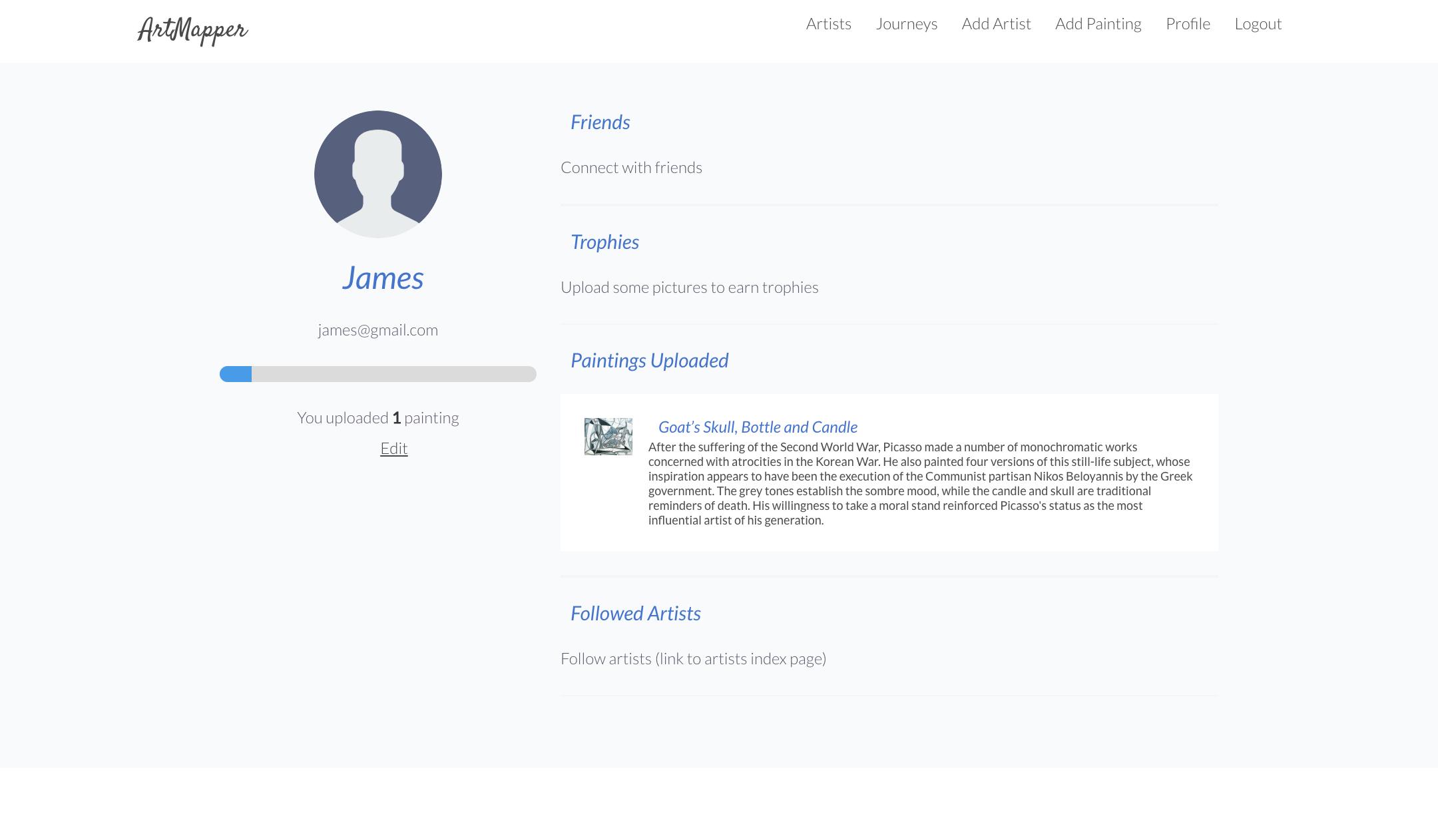 artmapper profile page