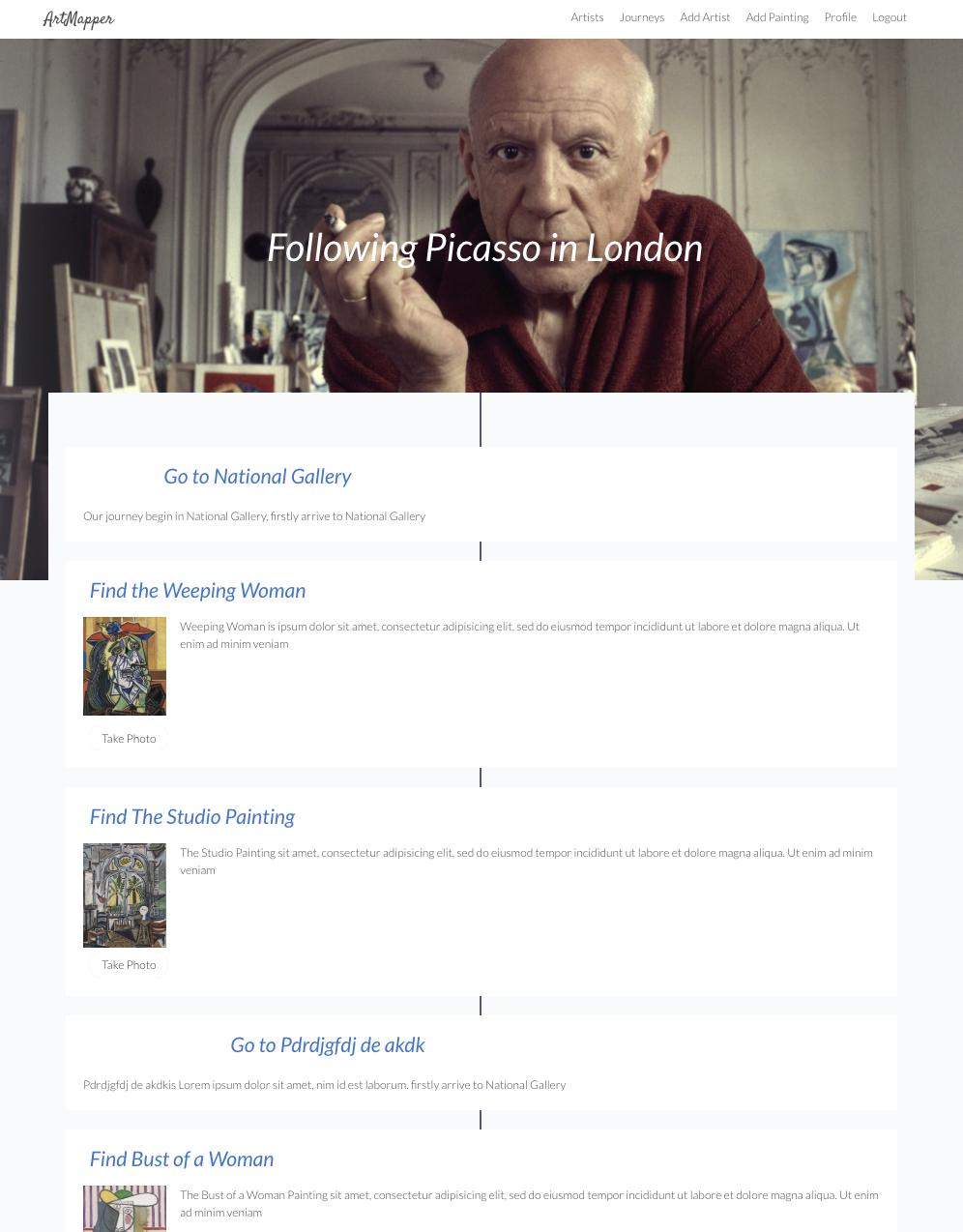 artmapper journey page
