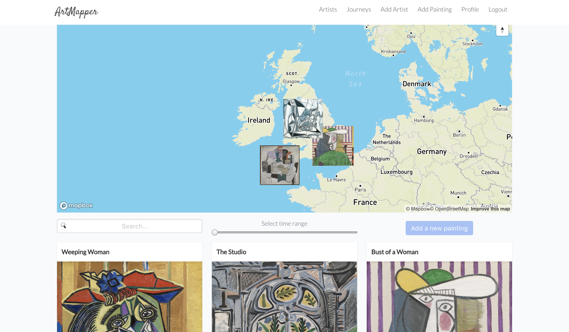 artist showpage with map and paintings