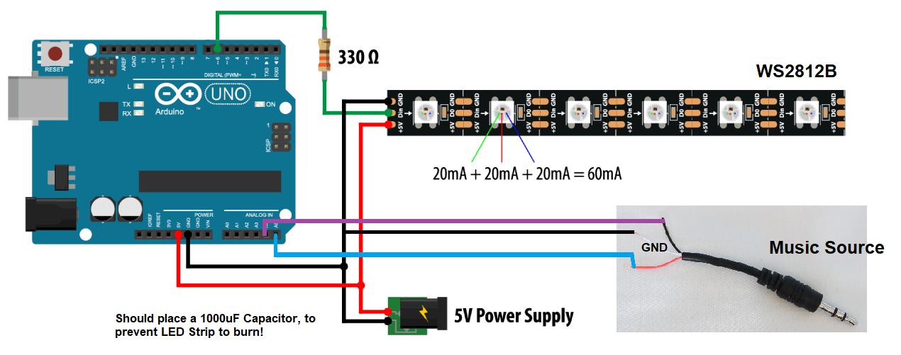 GitHub - AnshumanFauzdar/Music-Reactive-WS2812B-Arduino: LED