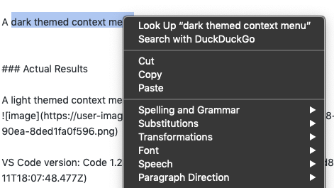 context menu does not reflect system-wide theme (macOS