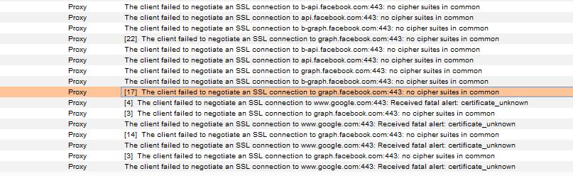 Client SSL handshake failed - no cipher suites in common