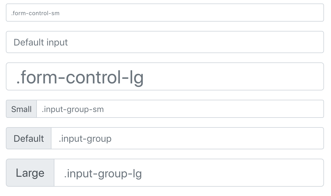 Font size issue between input group and form control size option