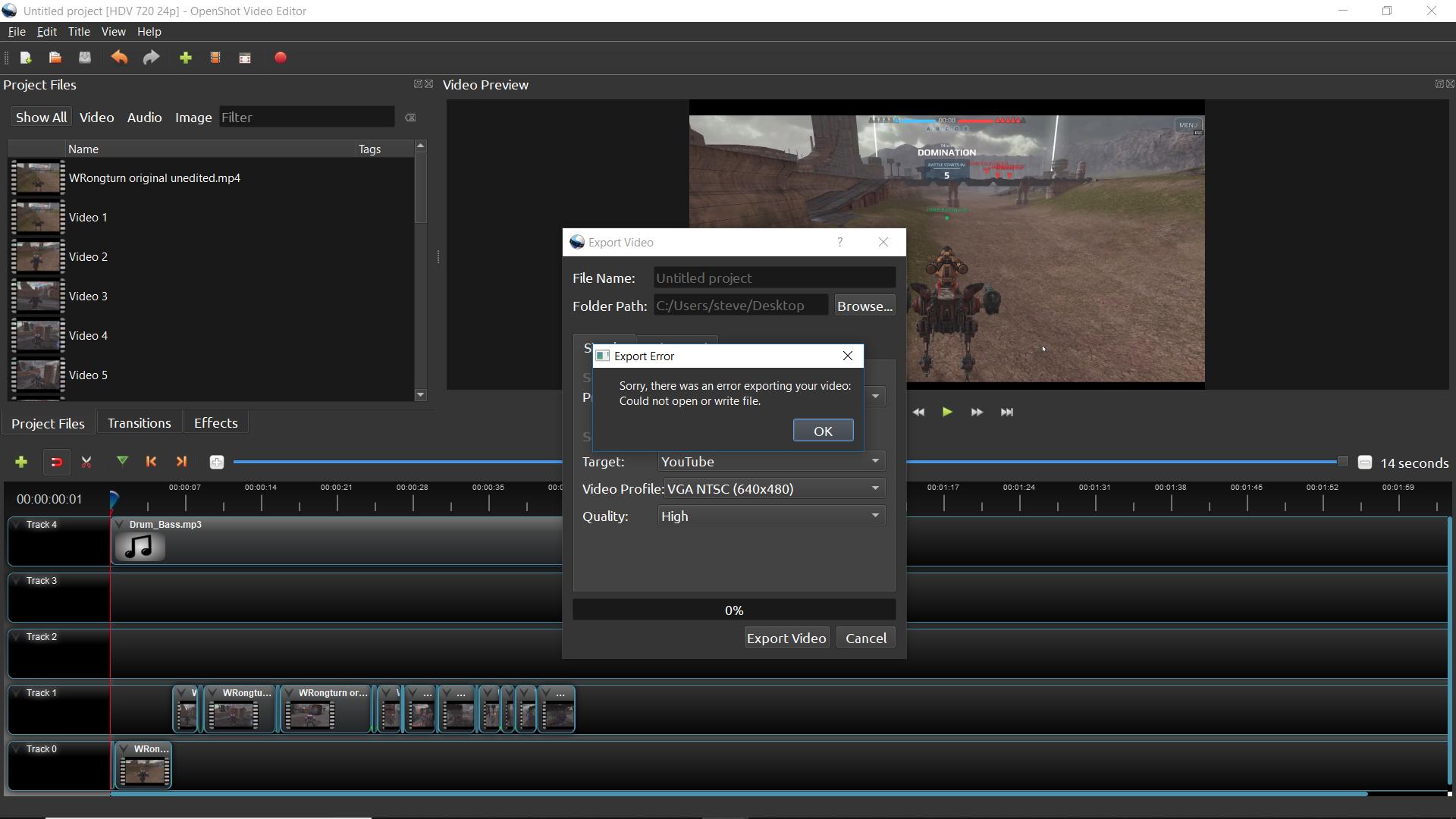 Can't Export my video, Error