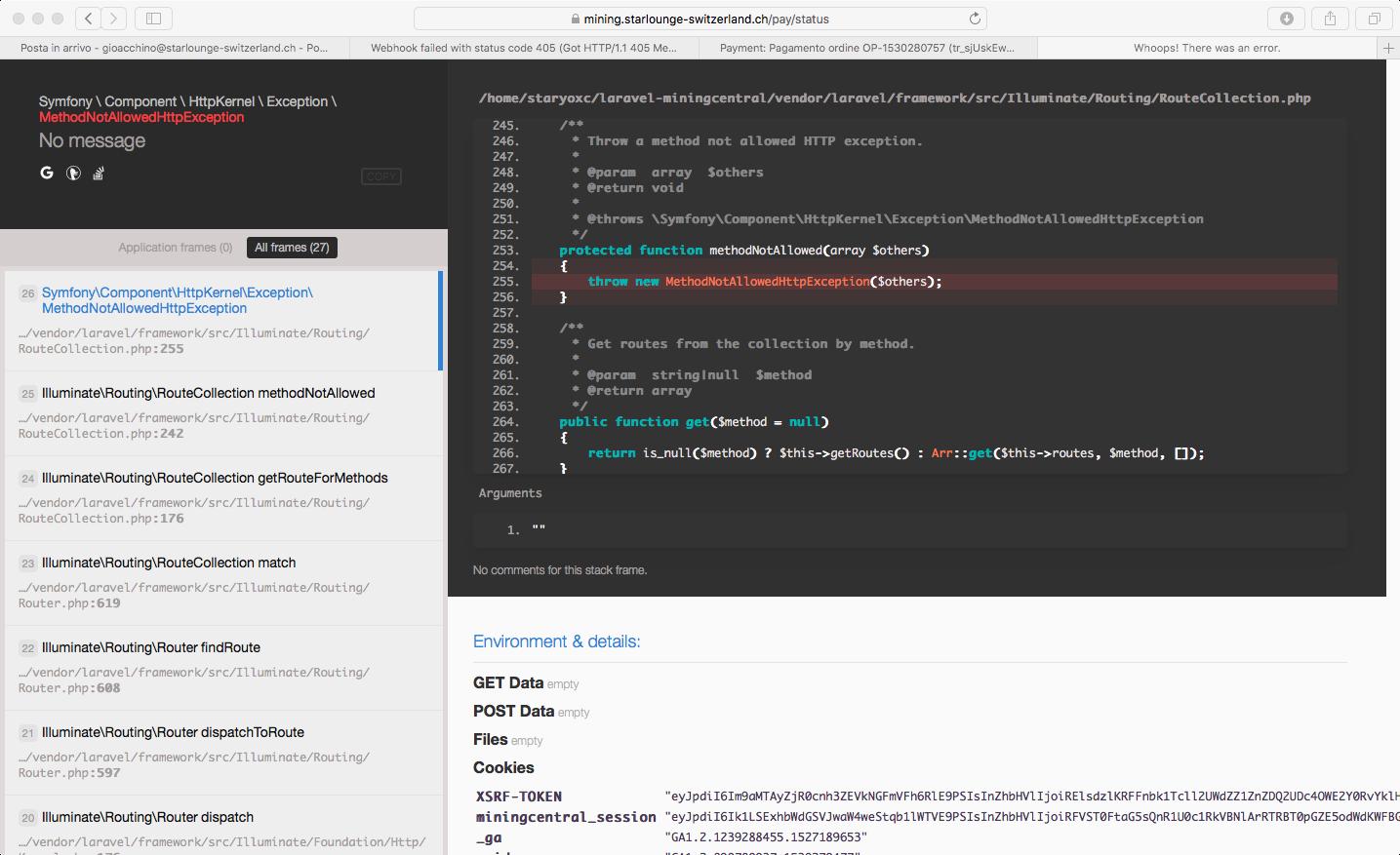 Webhook failed with status code 405 (Got HTTP/1 1 405 Method