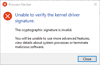 Unable to verify the kernel driver signature · Issue #340
