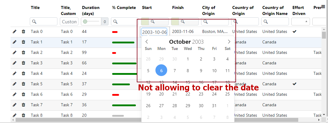 Selected date is not clearing in the Angular Slickgrid · Issue #1752