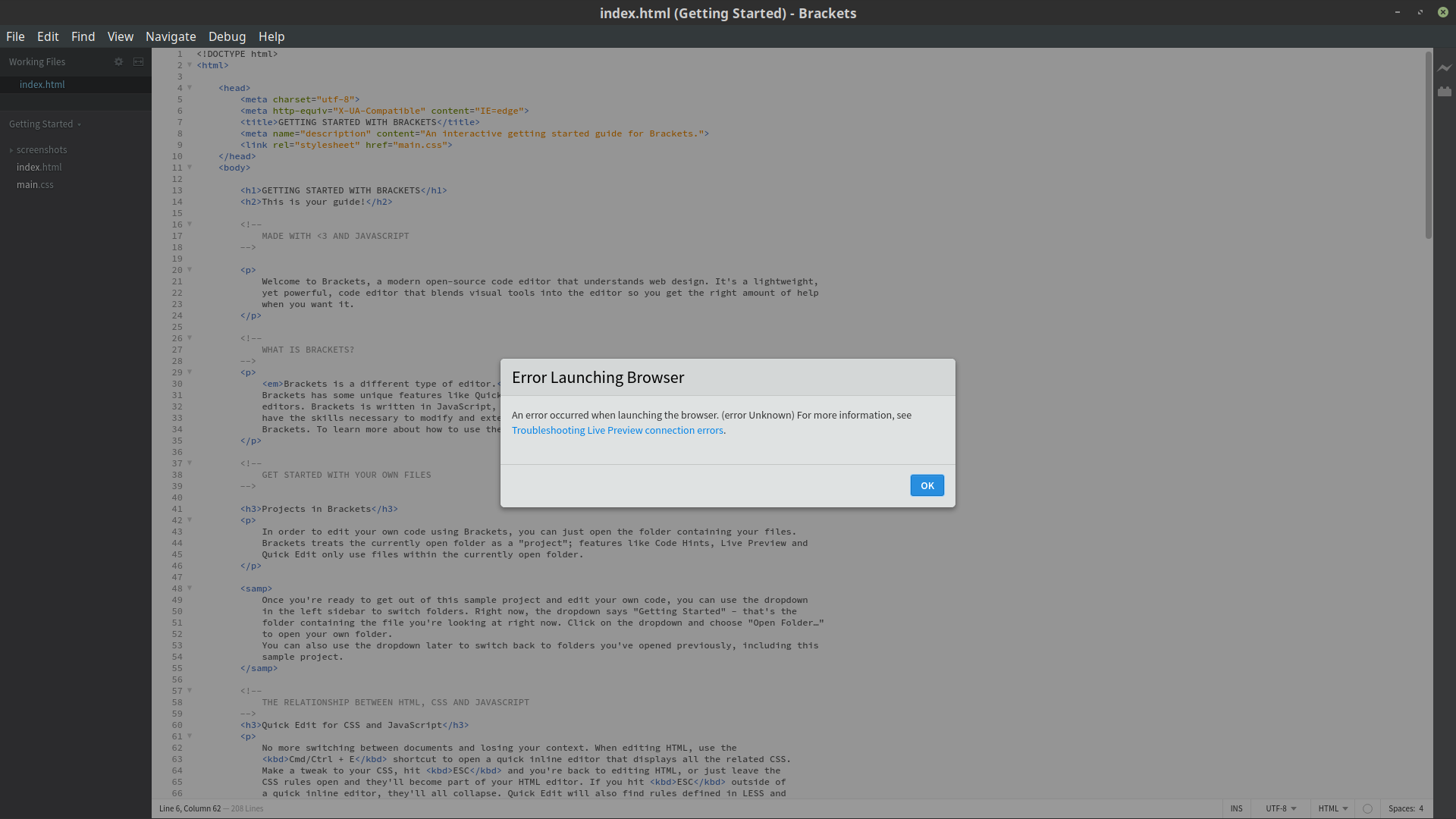 Error lauching browser for live preview  · Issue #14466