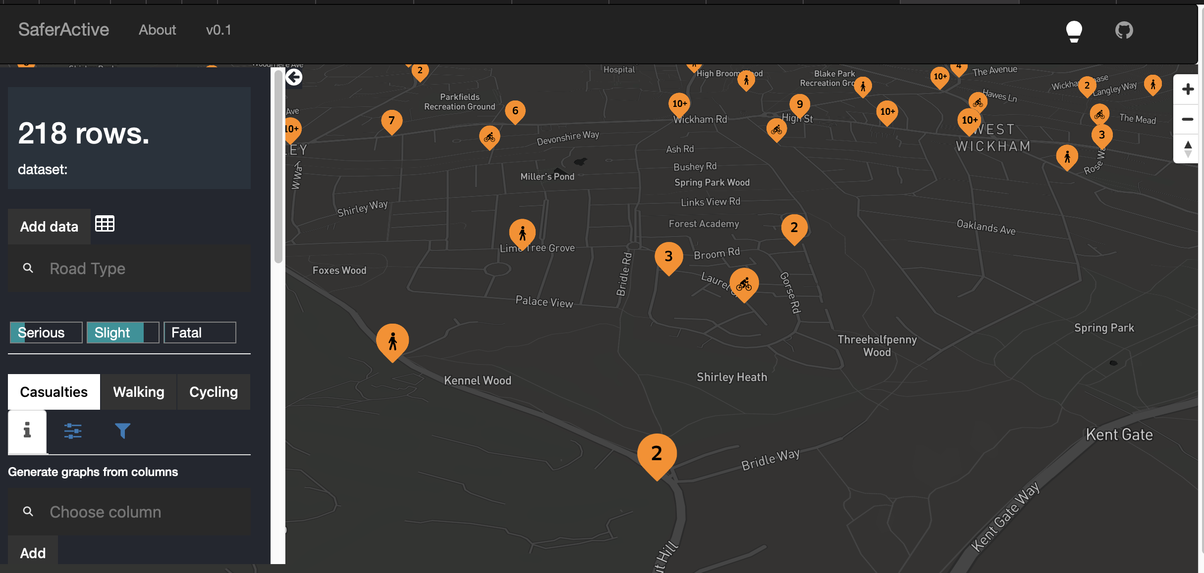A screenshot of current test deployment of our interactive web application
