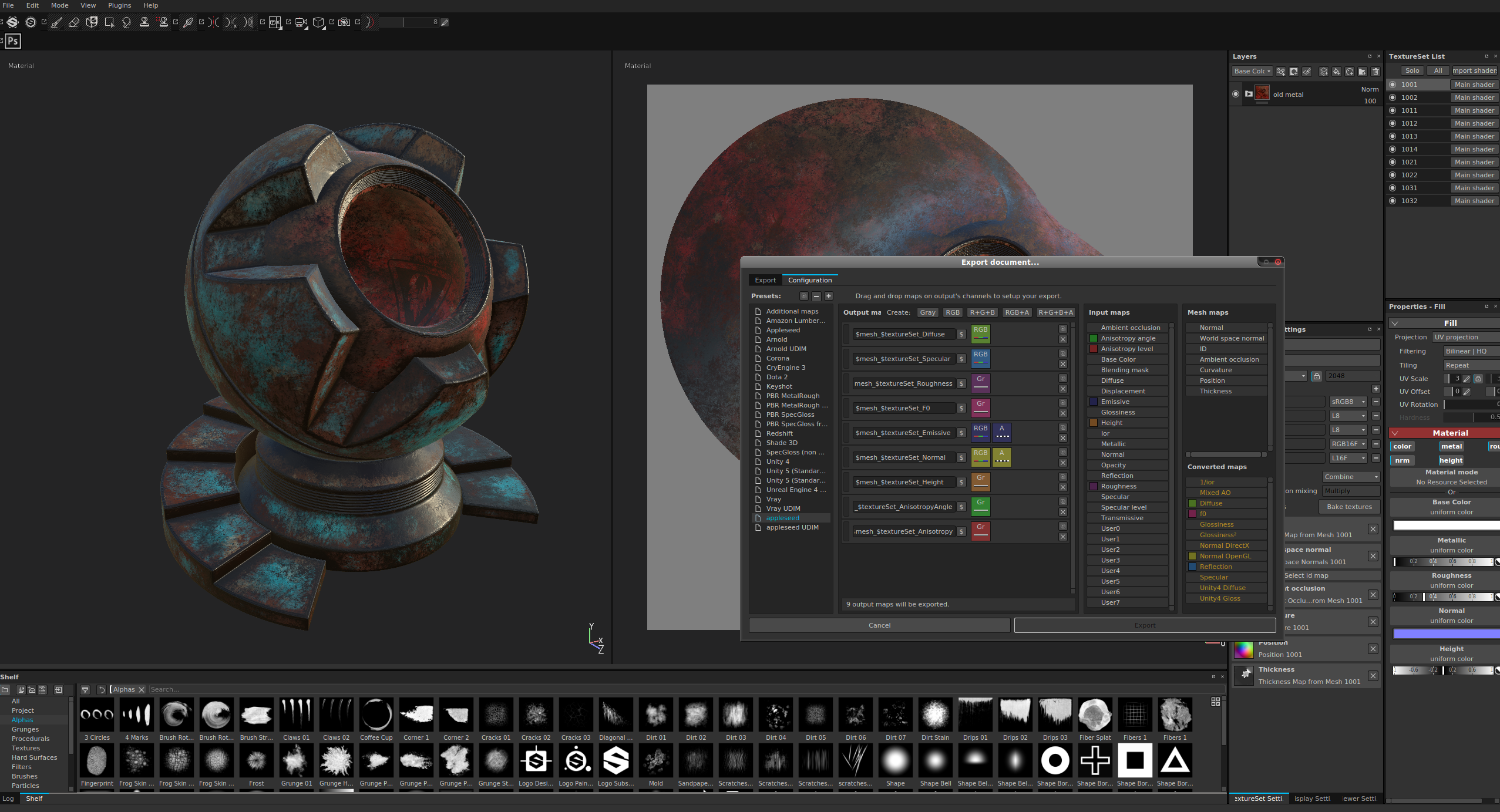 Substance Painter with appeseed's Export Presets