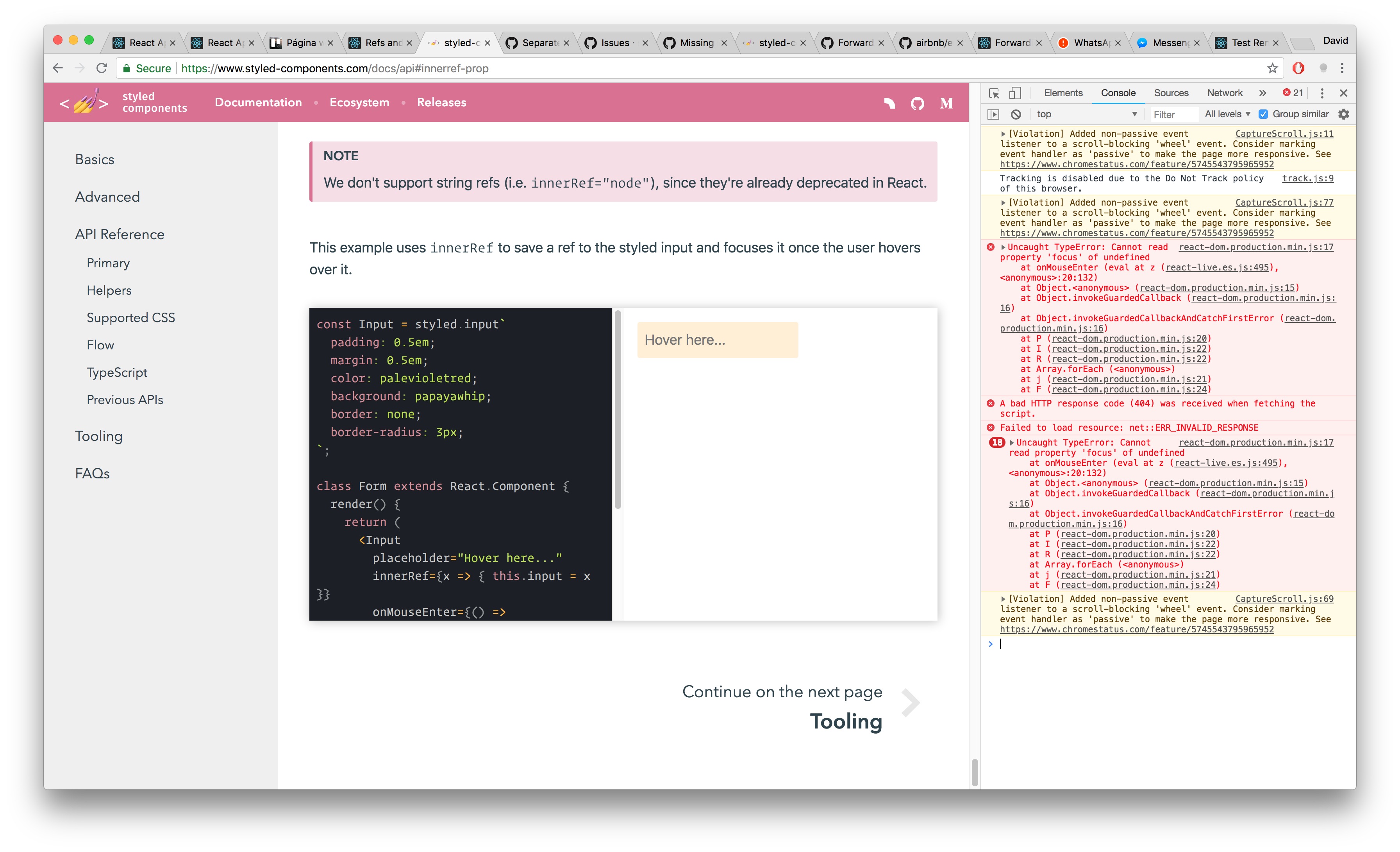 Example on usage of innerRef is broken · Issue #320 · styled
