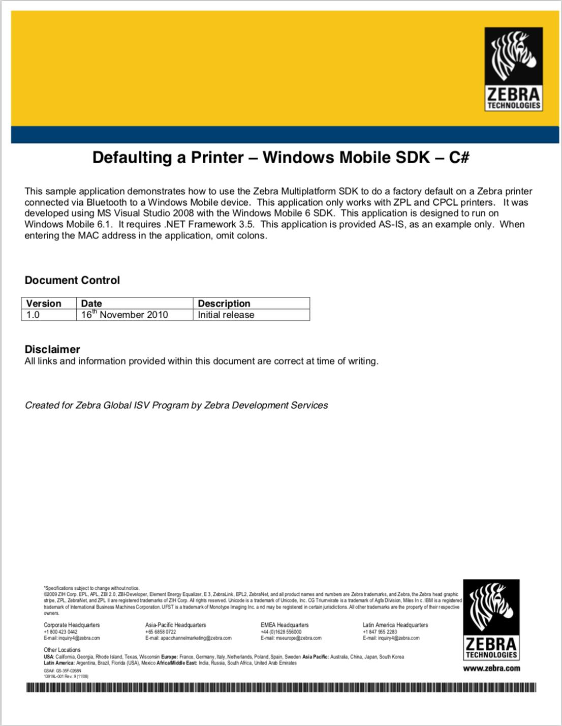 GitHub - ZebraISV/LinkOS-WindowsMobileCE-Samples-PrinterDefaultDemo