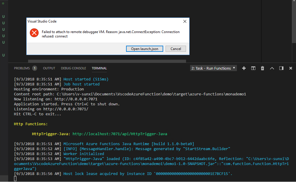 Can't debug java functions locally · Issue #553 · microsoft/vscode