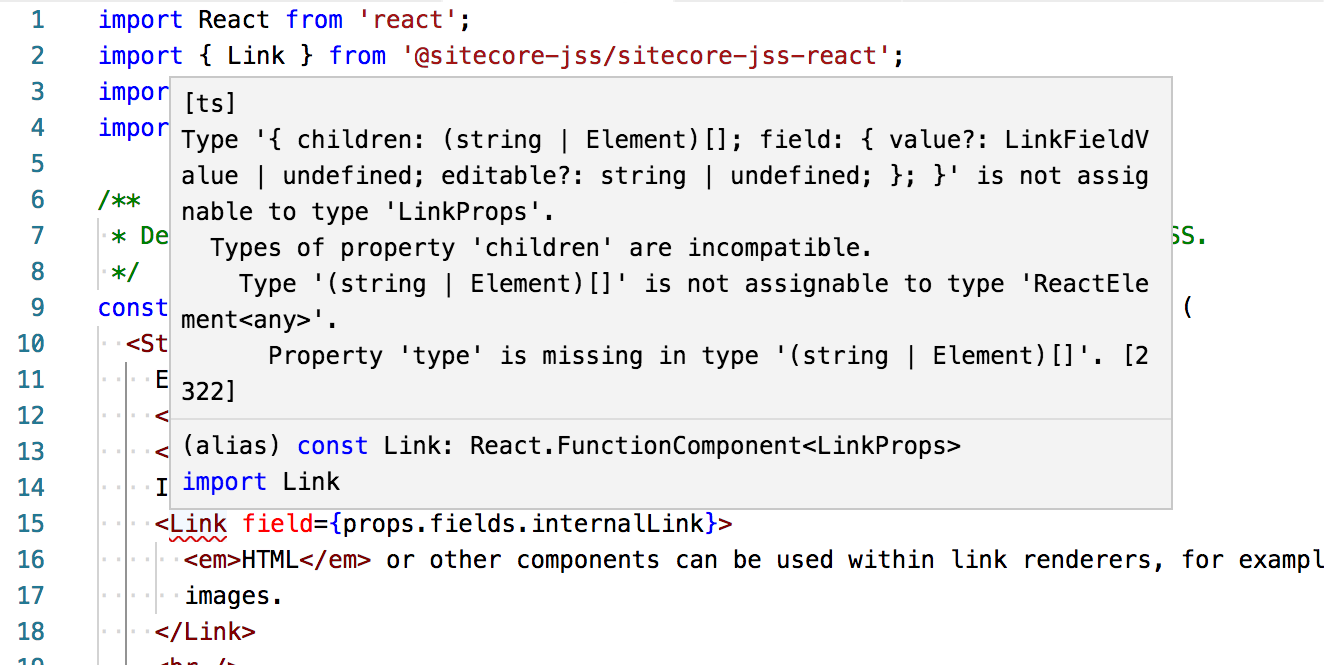 Invalid typing for the sitecore react <Link> tag · Issue #75