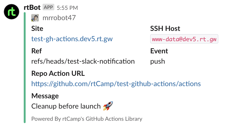 action-slack-notify-rtcamp