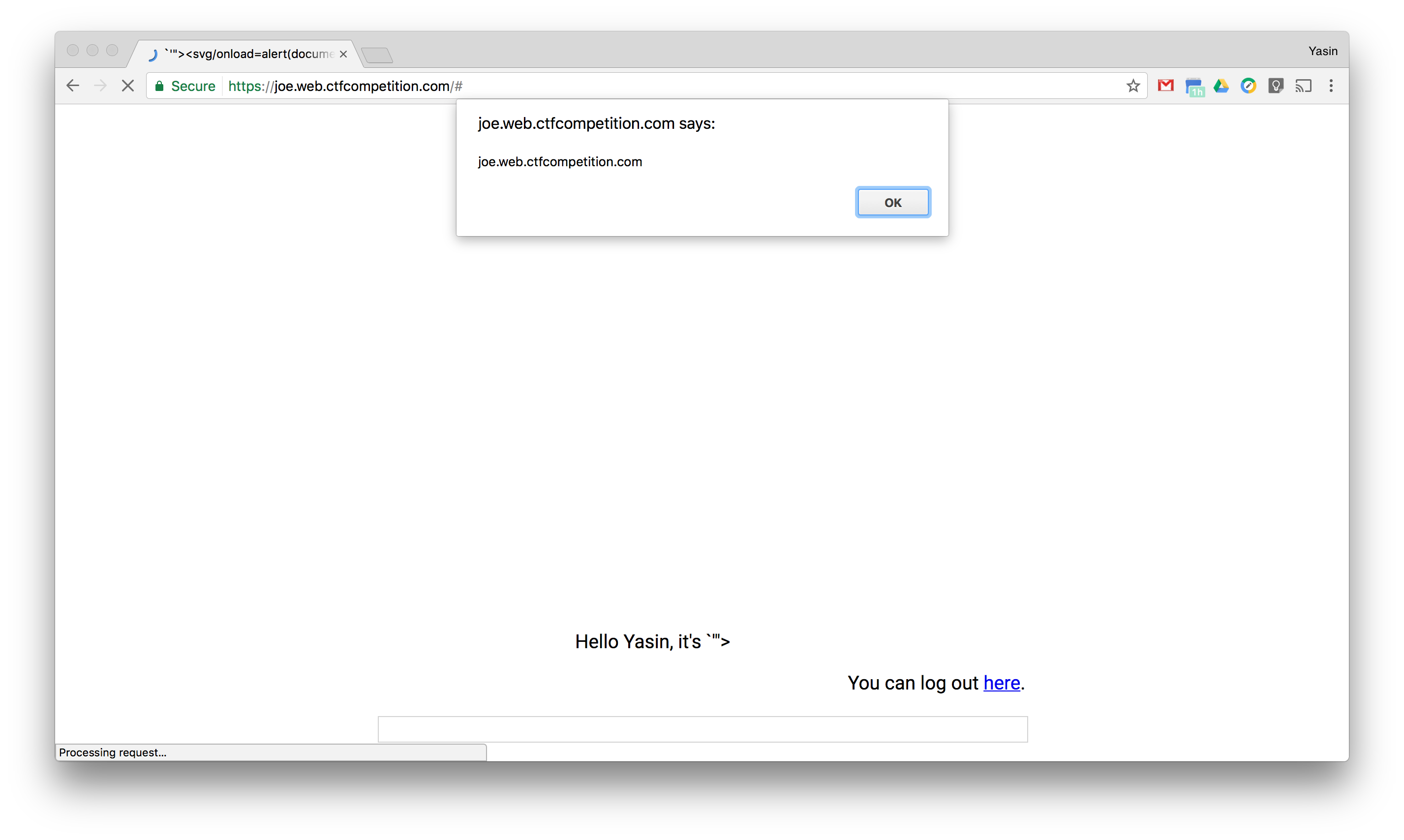 Self-XSS showing Joe site domain