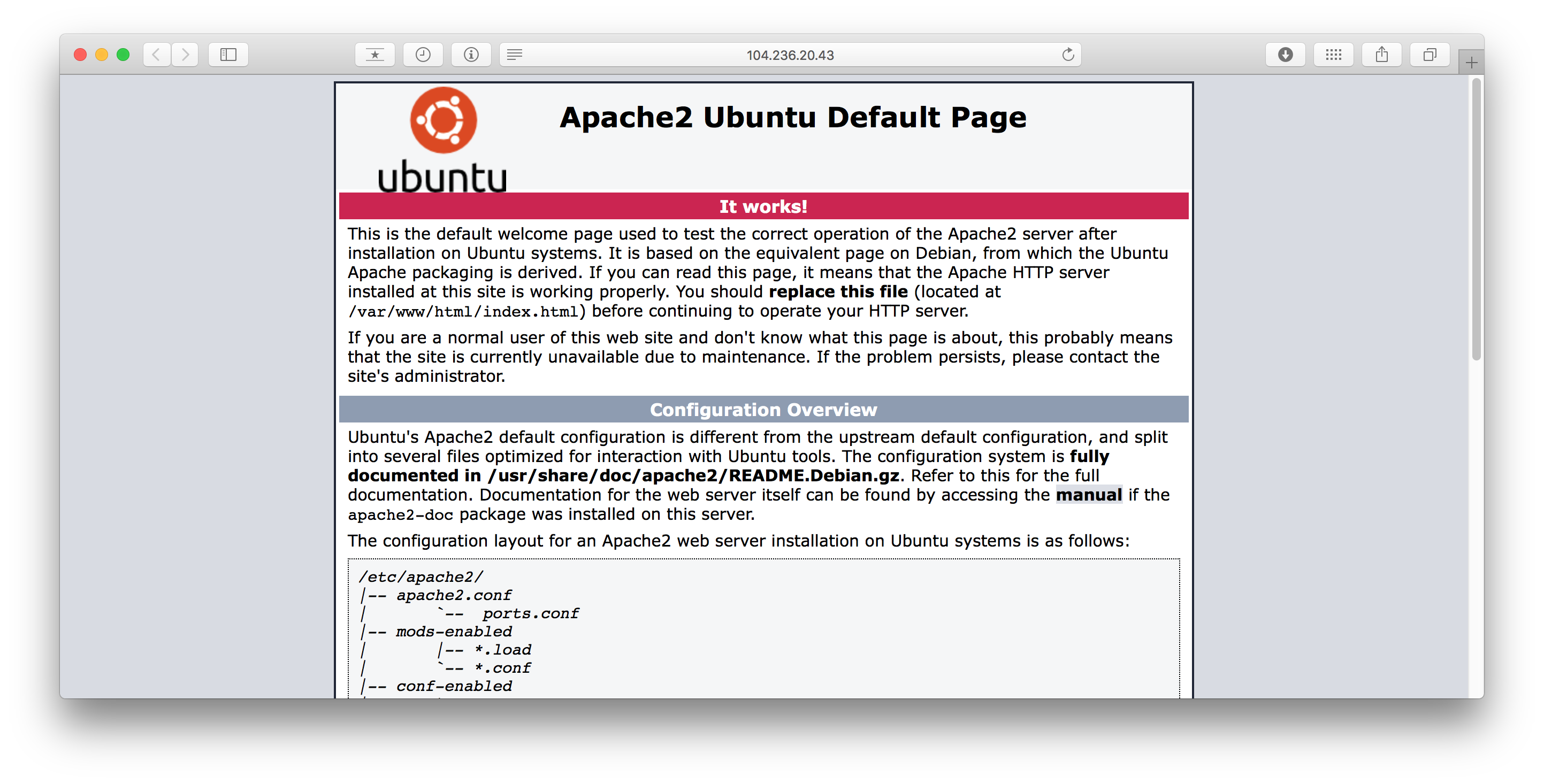 The Apache default page