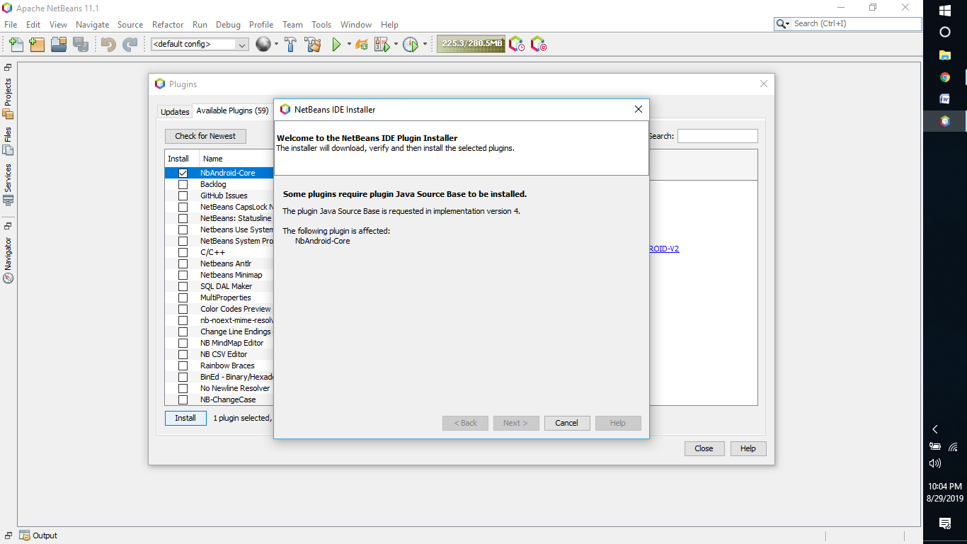 NBAndroid-Core plugin can't Install on Apache NetBeans 11 1