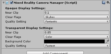 Mixed Reality Camera Manager settings not stored/retained