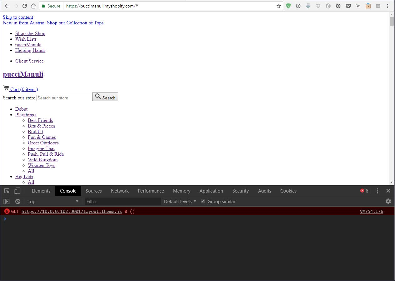 Theme on live site referencing files from local server