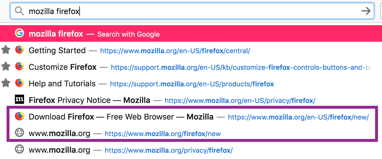 Screenshot of redirect source and target in Firefox 71 awesomebar