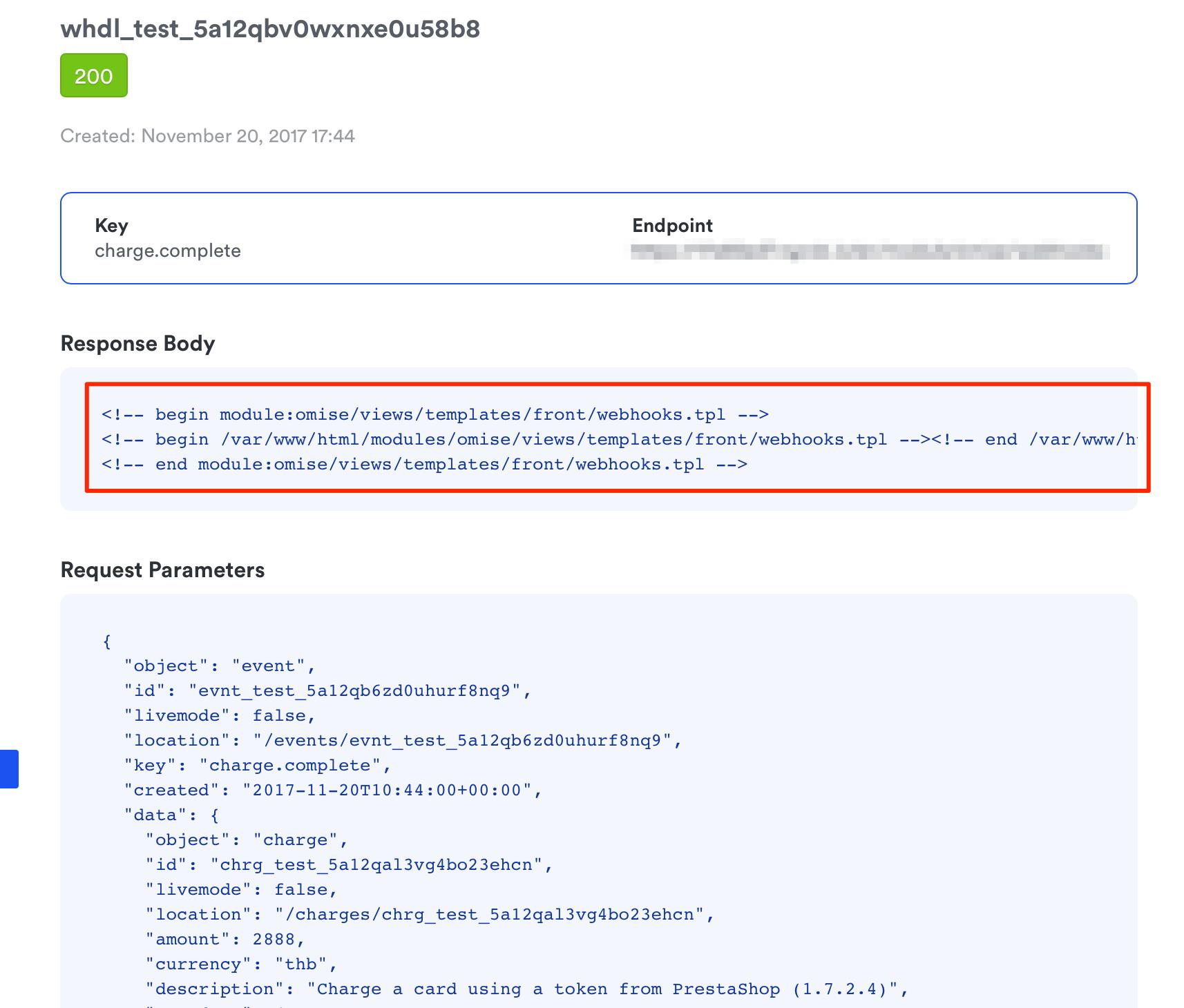 presashop-debug-mode-html-comments-appeard-on-response-body-omise-dashboard-webhooks-detail