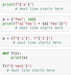 Wrong indentation after Python 3 6 f-string with literal