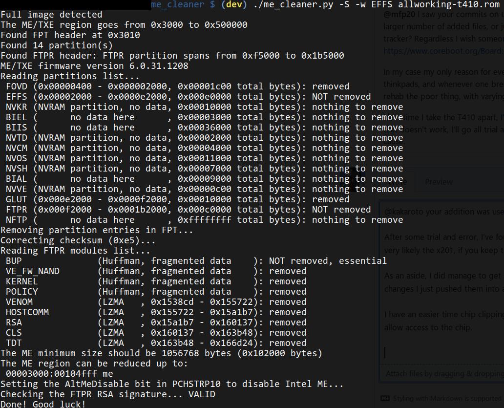 Lenovo Thinkpad X201 reports · Issue #24 · corna/me_cleaner