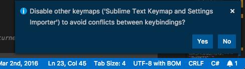 Disable other keymaps ('Sublime Text Keymap and Settings