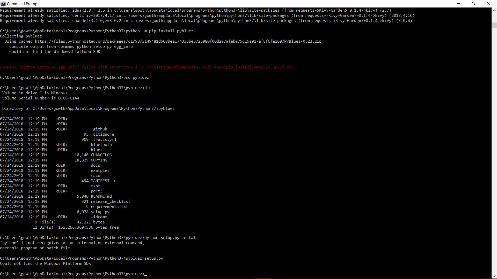 Windows 10 installation error(Python: 3 6 4) · Issue #180