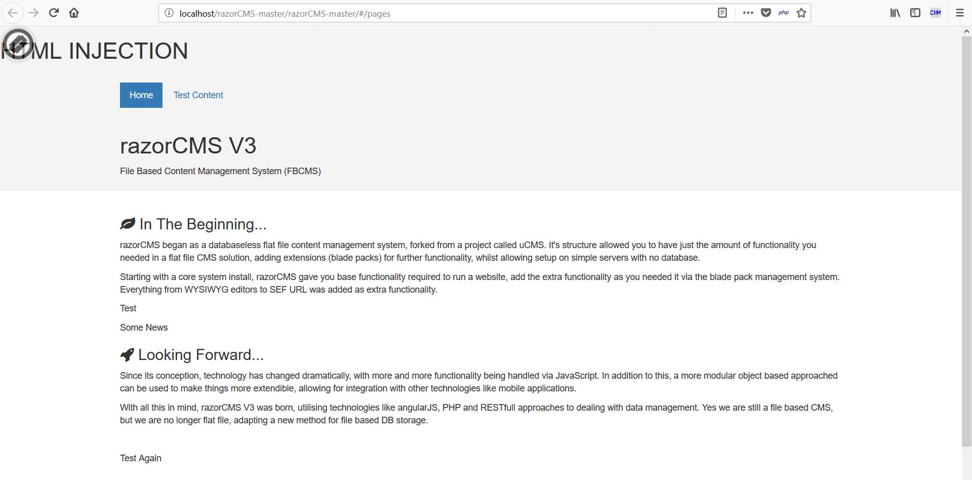 HTML injection in Razor CMS · Issue #55 · smiffy6969/razorCMS · GitHub