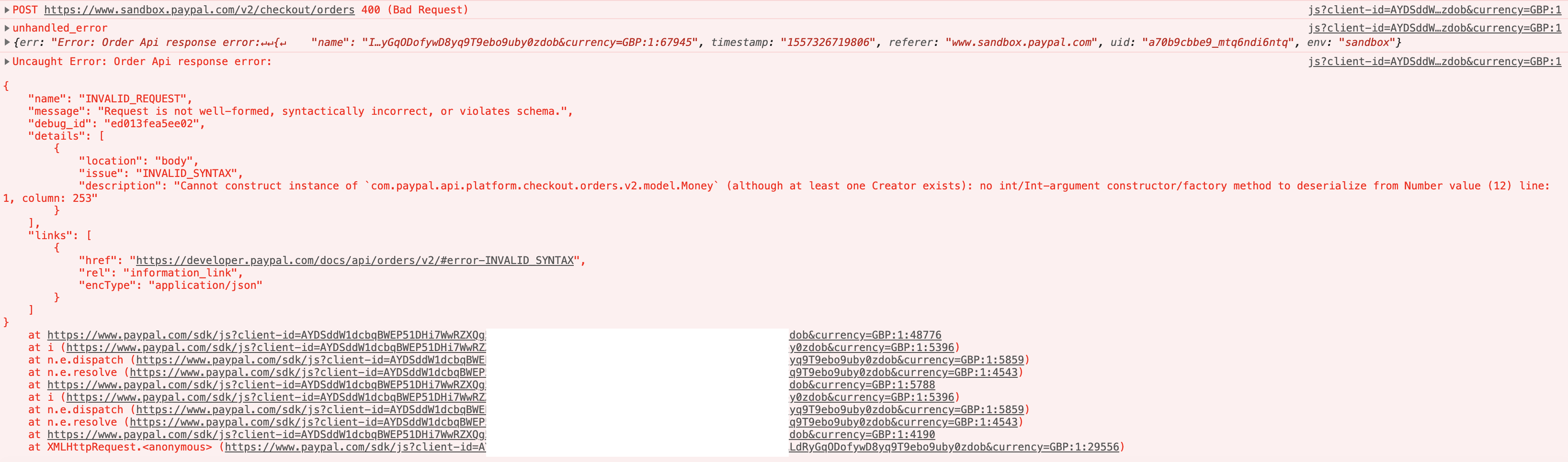 Order Api response error: INVALID_REQUEST - when passing items and
