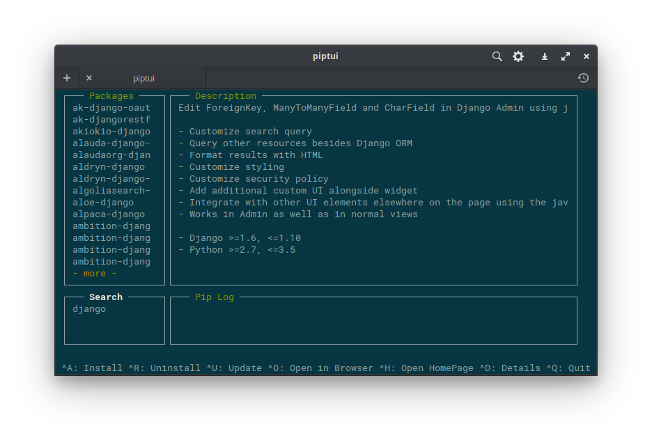 GitHub - nitanmarcel/PipTUI: Pip UI in your terminal!